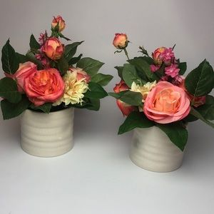 Matching Silk Floral Arrangement Vase Rose pink